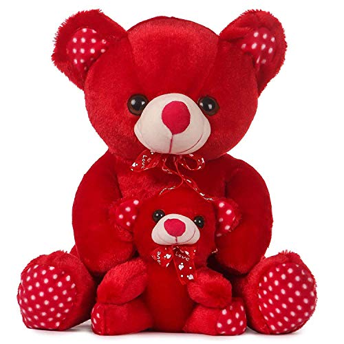 Besties Skin Freindly 100% Safe Mother BaTeddy Bear Soft Toy/Stuffed Toy, Made in India (36cm, Red) Toys