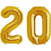 Sky Shot Made in India 16″ Inch 20 Year Golden Foil Balloon / 20 Number Digit Helium Foil Balloon for Party Decoration /Twenty No. Gold Balloon – Pack of 2. Celebration