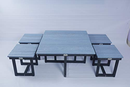 Econiture Cross Coffee Table with 4 Stool of Recycle Plastic for Indoor and Outdoor use (Small, Yellow) Furniture