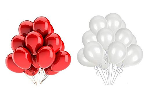 Vail Creations MADE IN INDIA 10inch Metallic Balloons for Birthday Decoration / Anniversary Party Decoration(Red + White,Pack of 100) Celebration