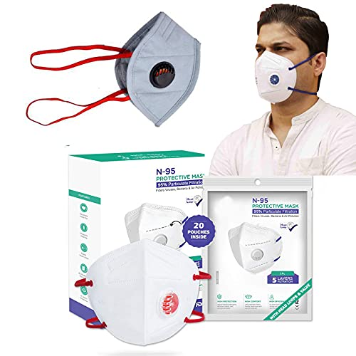 Ace N King N95/KN95 Anti Pollution Dust Face Mask for Kids,Adults,Men & Women Outdoor Protection with 5 Layer Filtration Made in India – Pack of 20 (Mix Colors) Health Care