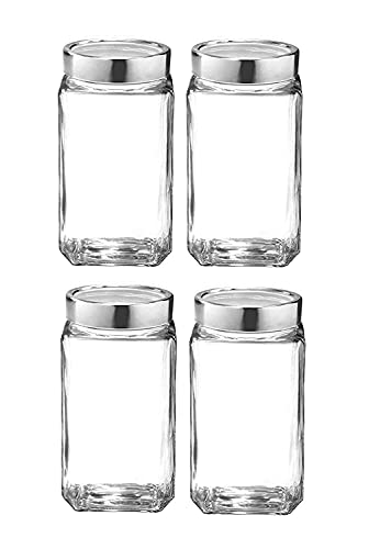 UNIVERSAL Glass Jar Kitchen Storage Container 1000 ml Jar,Glass jar Set of 4 Air Tight Silver Glass Cap,1000gm Capacity Glass jar,Food Grade Glass Made in India,Transparent, BPA,BPS, Free Non Toxic Kitchen Care