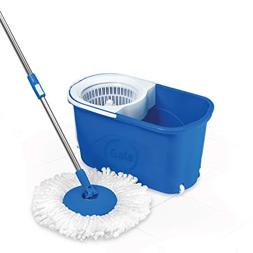 Gala Quick Spin Mop with Wheels and Bucket Floor Cleaning with 2 Microfiber Refills(Light Blue) (145790) Home Care