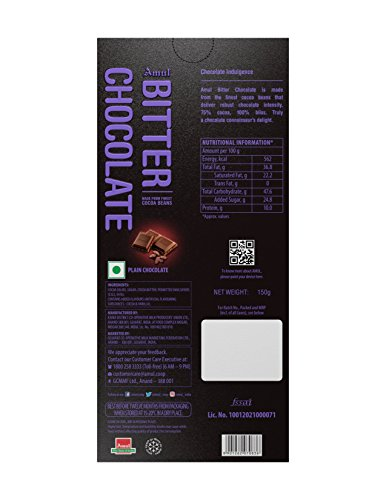 AMUL Bitter Chocolate 150G 75% Pack of 2 Sweets