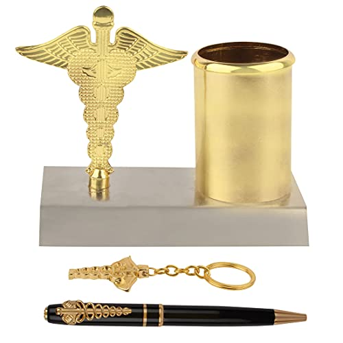 Oculus 4 Items Gift Set Ideal Gift for Doctors/Medico/Nurses - Metal Ball Pen, Keychain and Desk Pen Stand for Doctors in Golden Combination.