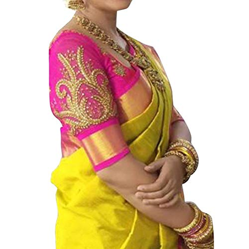 Flosive Women's Half Design Cotton Kanchipuram and Cotton Embroidery Work Replica Casual Beautiful Saree with Blouse Material for Sadi Offer Marriage(NK- pink work sadie) Clothing