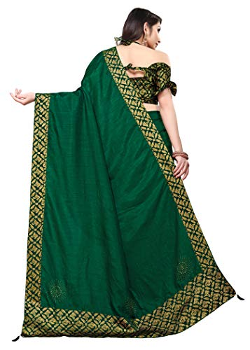 TEREZA Women's Saree Dola Silk Materials with Hot Fix Stone Work, Weaving Design Unstitched Blouse Brocket Lace Blouse FABRIC  Heavy Boarder (BLOUSE 0.80) Clothing