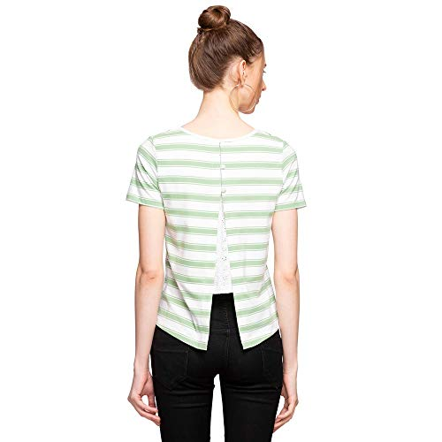 Madame Womens Round Neck Striped T-Shirt Clothing