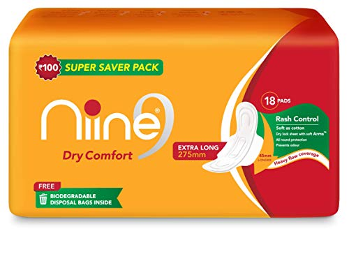 Niine Dry Comfort Extra Long Sanitary Pads for women (Pack of 3), With disposable bags inside, 54 Pads Count (Super Saver Pack) Health Care