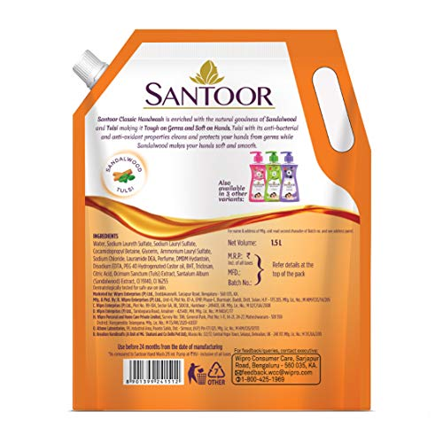 Santoor Classic Gentle Hand Wash, 1500ml with Natural goodness of Sandalwood & Tulsi Soap