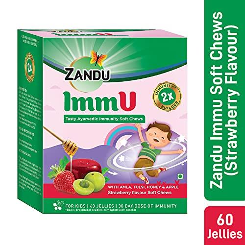Zandu ImmU Tasty Ayurvedic Soft Chews for Kids Immunity Booster for Children Rich in goodness of Amla, Tulsi, Apple and Honey Strawberry Flavour (60 Jellies) Health Care