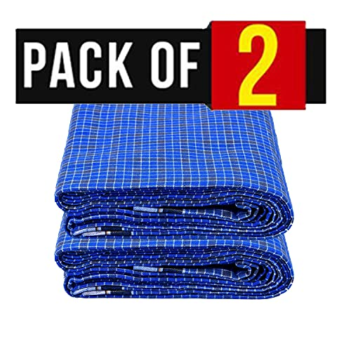 SHARABANI Hand loom blue color lungi poly cotton 2 mts width x 122 cm length pack of 2 Clothing
