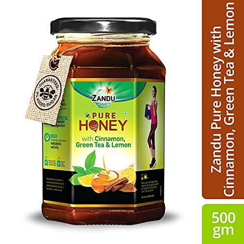 Zandu Pure Honey with Cinnamon, Green Tea & Lemon, 100% Purity, No Added Sugar, 500g Health Care