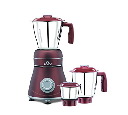 Bajaj Ivora 800W Mixer Grinder with Anti-Bacterial Coating and Nutri-Pro Feature, 3 Jars, Crimson Red