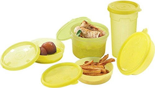 Flair Plastic Food Container, 150 ml, 300 ml, 450 ml, 150 ml, 150 ml, Set of 5, Yellow