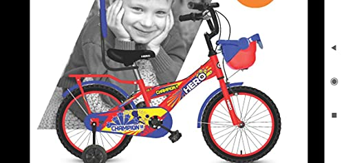 Hero Cycles 16T Champion Cycle for Kids (Blue/Yellow, 11.4'' Frame, 4 to 7 Years)