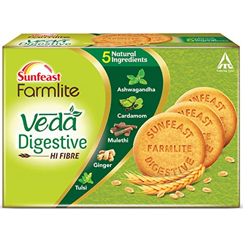 Sunfeast Farmlite Veda Digestive Biscuit High Fibre Goodness of 5 Natural Ingredients and Wheat Fibre, 250g