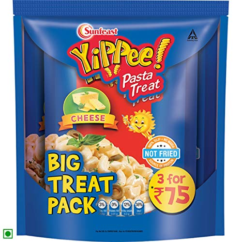 Sunfeast YiPPee! Pasta Treat | Cheesy and Soft Suji, Rawa Pasta | Cheese |195g Pack