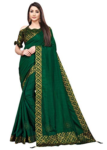 TEREZA Women's Saree Dola Silk Materials with Hot Fix Stone Work, Weaving Design|Unstitched Blouse Brocket Lace Blouse FABRIC |Heavy Boarder (BLOUSE 0.80)