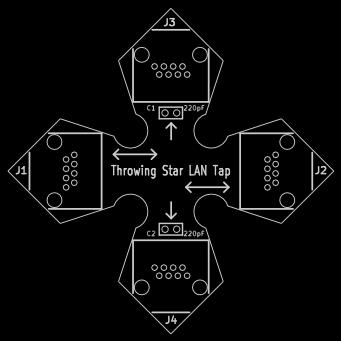 Throwing Star LAN Tap assembly diagram