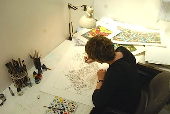 Roxie Munro in her studio