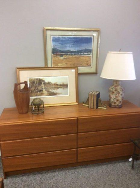 Teak dresser from Happy Viking $275 lamp $59 metal sphere with zodiac signs $49