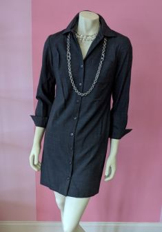 Charcoal Talbots button up long sleeve dress - $25