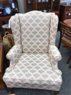 Coral and Pale Green wing chair $175