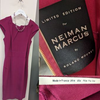 Limited Edition Raspberry Neiman Marcus Dress size 2, $325 retail $1500), necklace $20