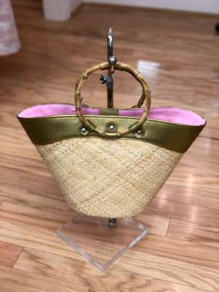 $25 Straw bag with wooden handles - Putu by J. MacLear