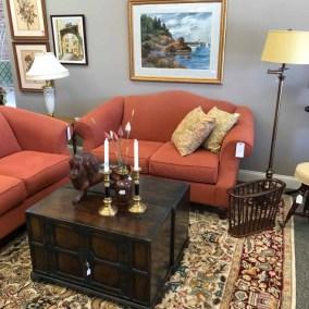Coral loveseats $295 ea., Asian cabinets $395 ea., Carved wood lion $95, Candlesticks $19 pair, Original art $525