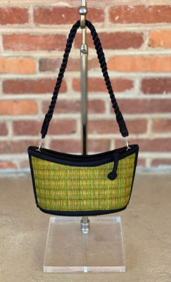 "Green ""Baskets of Cambodia"" purse $20"