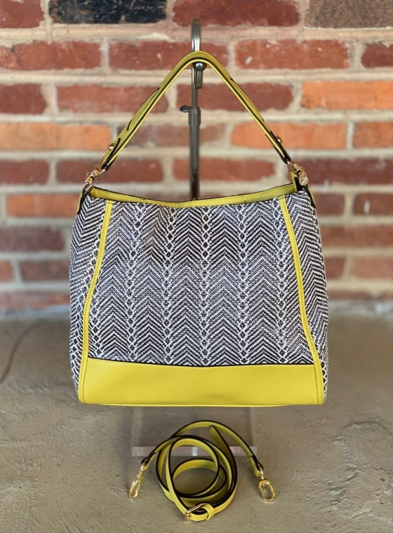 Sondra Roberts yellow and brown textured bag $49