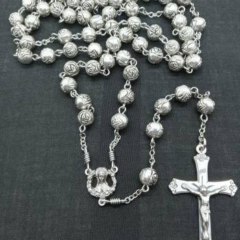 Metal Rosebud Rosary