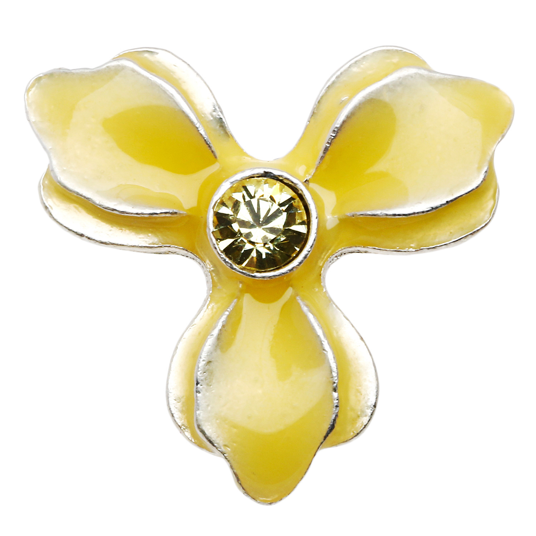 Pilgrim Skanderborg Trefoil Yellow Crystal Enamel Flower Pin Brooch
