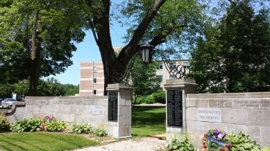 Hospital extensions behind memorial gateway