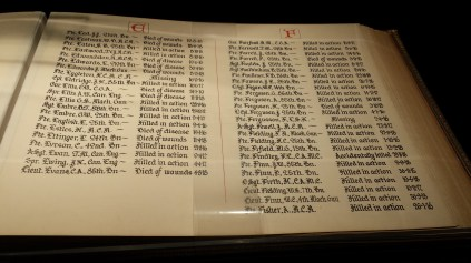Page from the WW1 Book of Remembrance