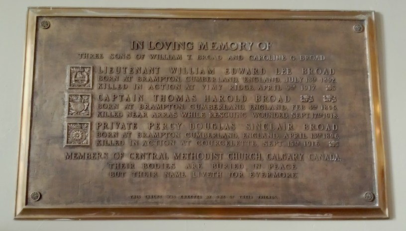 Central United Church plaque honours three Broad brothers