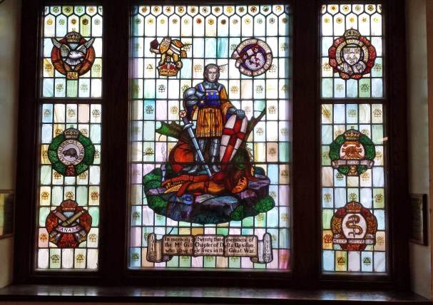 Delta Upsilon Window at McGill University depicts St George and the dragon