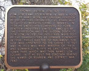 plaque tells of benefactor Thomas Low