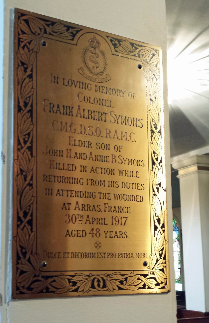 Plaque in memory of Frank Albert Symons, St Paul's Church, Halifax