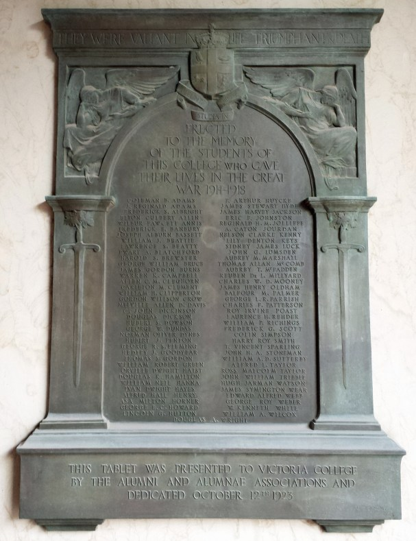 Bronze memorial tablet at Victoria College, Toronto