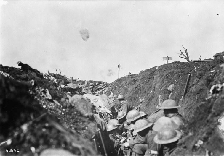 Shrapnel bursting over reserve trench in Canadian lines.