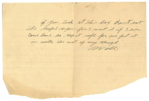 A note from Pte William Barker to his family, written before he left for war.