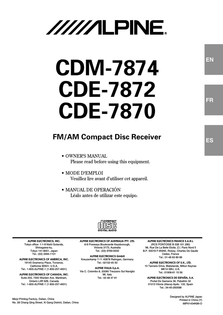 User Manual Alpine Cse-152e