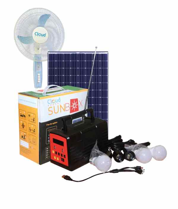 Solar Home Lighting System With Solar Panel, Standing Fan And Radio -SUNBOX