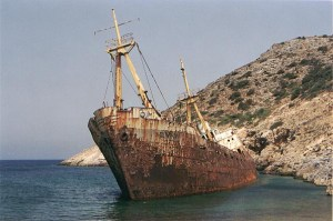 shipwreck on the way to Kalotaritissa in Amorgos