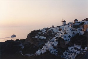 Oia during sunset in Santorini