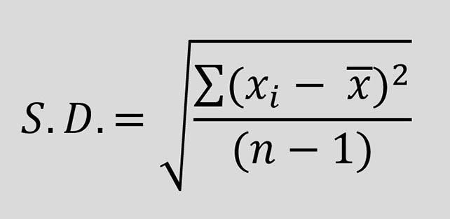 ค่า SD คือ ค่าเบี่ยงเบนมาตรฐาน สูตร หาค่า SD คือ ส่วนเบี่ยงเบนมาตรฐาน Standard Deviation