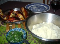 Roast chicken, cauliflower mash, buttered silverbeet